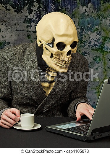 Terrible person - skeleton uses Internet - csp4105073