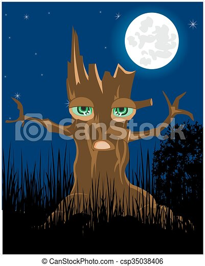 Terrible stump in the night - csp35038406