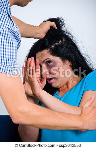 Terrified abused woman - csp3642558
