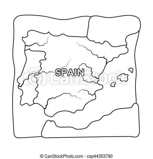 territory of spain icon in outline style isolated on white Nigeria Country Outline territory of spain icon in outline style isolated on white background spain country symbol stock
