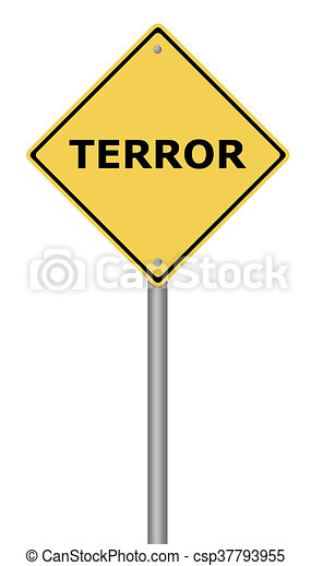 Terror Warning Sign - csp37793955