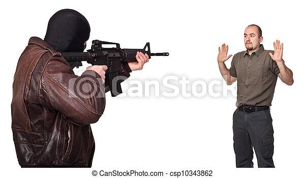 terrorist portrait and hostage - csp10343862