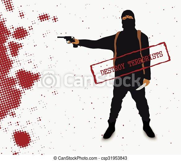 Terrorista con un cuchillo en uniforme - csp31953843