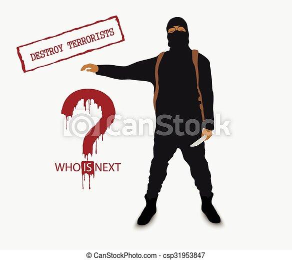 Terrorista con un cuchillo en uniforme - csp31953847