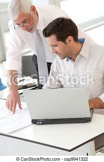 tervezés, építész, dolgozó - csp9941322