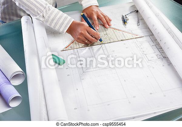 tervezés, építészet, dolgozó - csp9555454