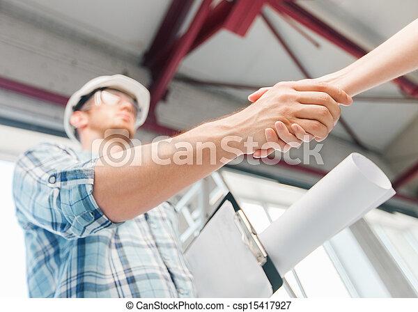 tervrajz, partner, építő, reszkető kezezés - csp15417927