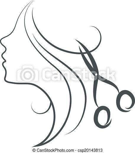 tesouras, menina, desenho - csp20143813