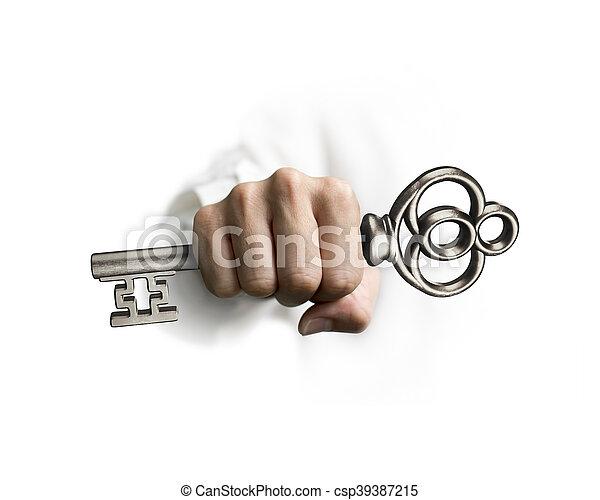 tesouro, segurando, tecla, mão - csp39387215