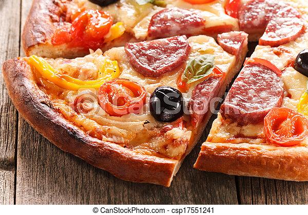 tessuto legno, fondo, pizza - csp17551241
