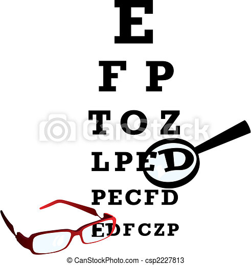 Test alphabet in oculist room with glasses and loupe. Vector illustration. - csp2227813