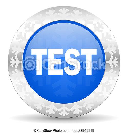 test blue icon, christmas button - csp23849818
