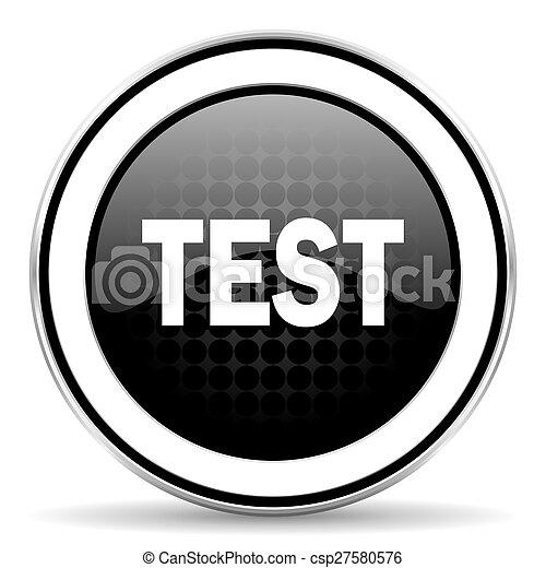 test icon, black chrome button - csp27580576