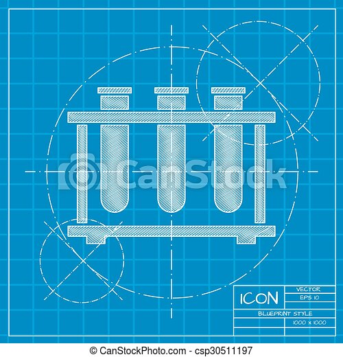 Vector blueprint test tube icon on engineer or architect eps test tube csp30511197 malvernweather Image collections