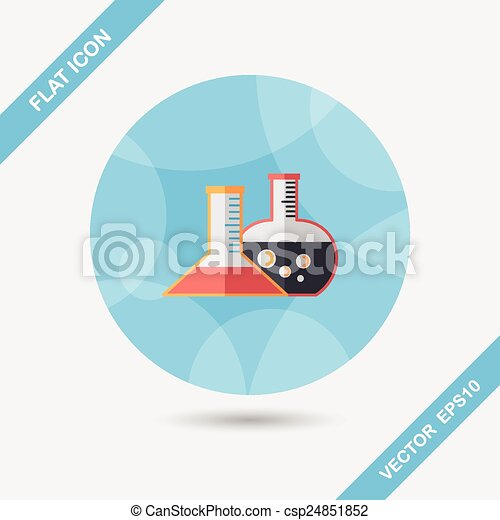 test tube flat icon with long shadow - csp24851852