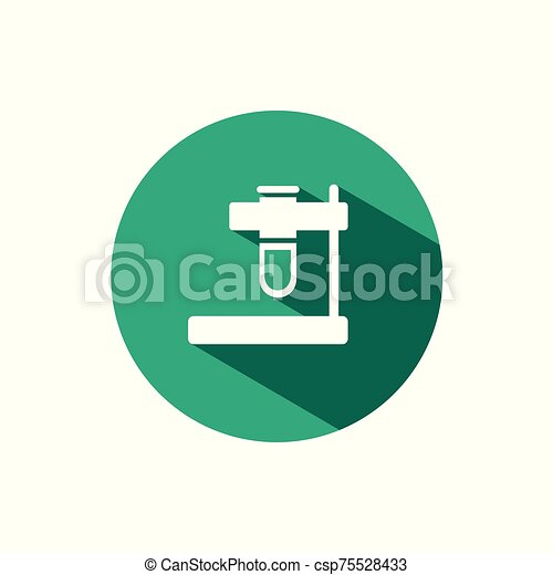 Test tube icon with shadow on a green circle. Vector pharmacy illustration - csp75528433