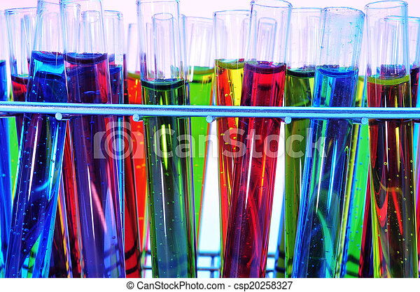 test tubes with liquids of different colors - csp20258327
