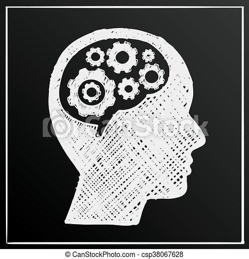 testa, affari, ingranaggio, illustrazione, cervello, idea, vettore, lavagna, uomo - csp38067628