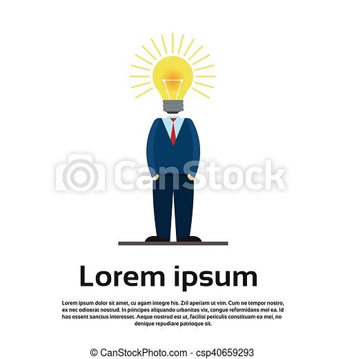 testa, affari, luce, idea, bulbo, uomo nuovo - csp40659293