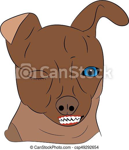 Testa arrabbiato cane fondo bianco cartone animato testa
