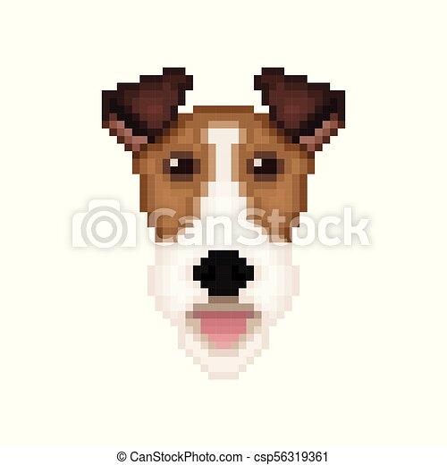 Testa arte volpe cane pixel terrier style. testa arte