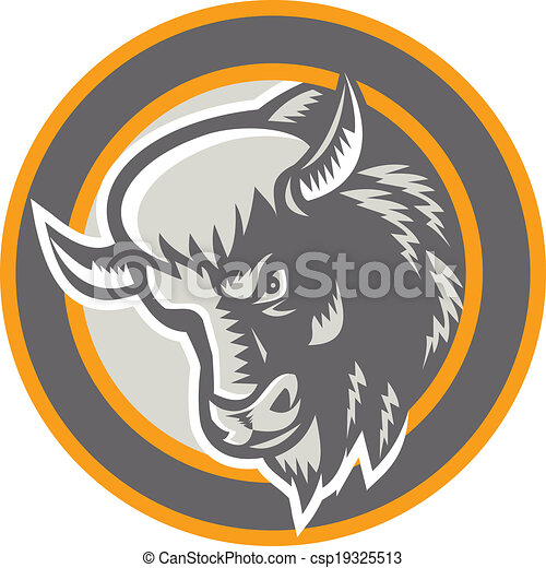 testa, bisonte americano, retro, cerchio, bufalo - csp19325513