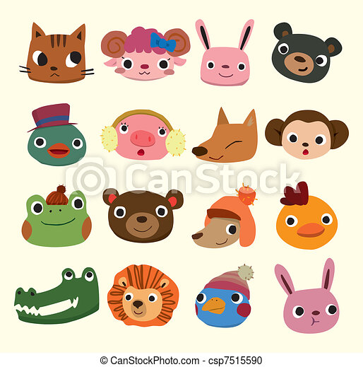 testa, cartone animato, icone animali - csp7515590