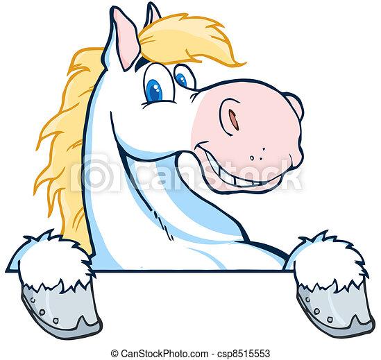 testa, cartone animato, mascotte, cavallo - csp8515553