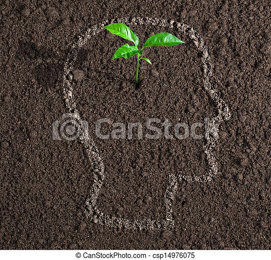 testa, concetto, suolo, dentro, idea, giovane, crescita, umano, contorno - csp14976075