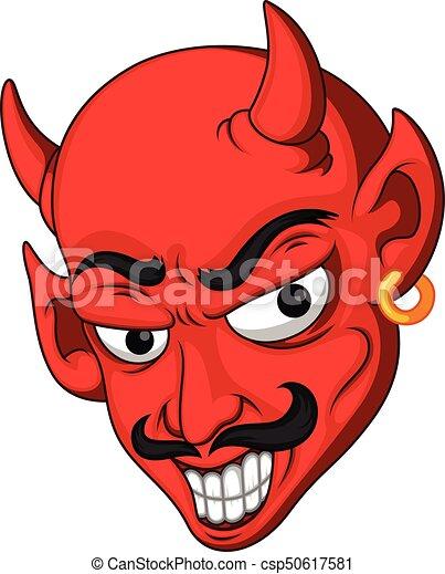 Testa diavolo cartone animato rosso testa diavolo cartone