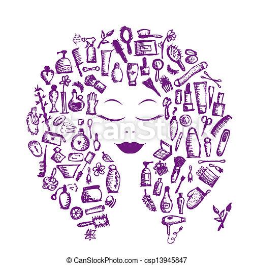 testa, donna, concetto, cosmetico, accessori, disegno, femmina, tuo - csp13945847