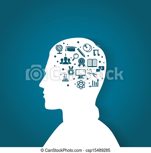 testa, educazione, uomo, icone - csp15489285