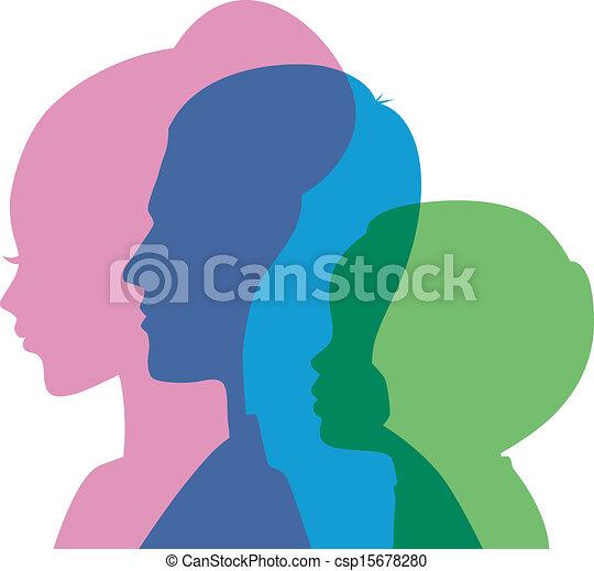 testa, famiglia, icone - csp15678280