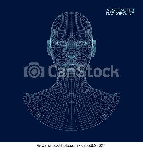 testa, ia, intelligenza, concept., wireframe, robot, artificiale, computer, brain., umano, digitale, interpretation. - csp56693627