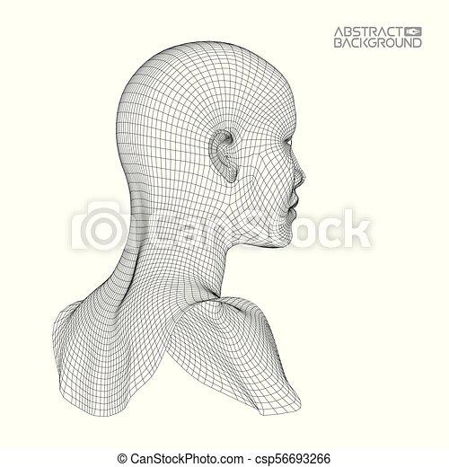 testa, ia, intelligenza, concept., wireframe, robot, artificiale, computer, brain., umano, digitale, interpretation. - csp56693266