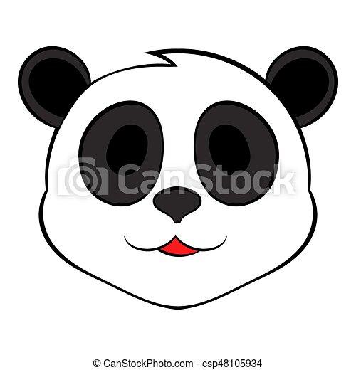 Testa icona cartone animato orso panda testa stile