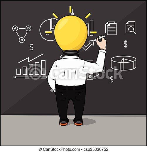 testa, idea, uomo affari - csp35036752