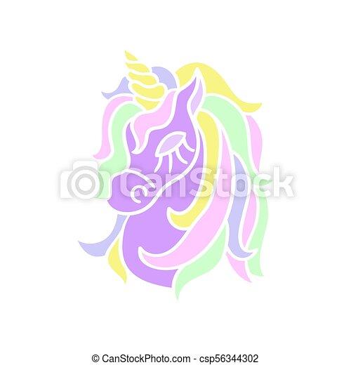 Testa Imporpori Sfondo Unicorno Bianco Icona Testa Magia