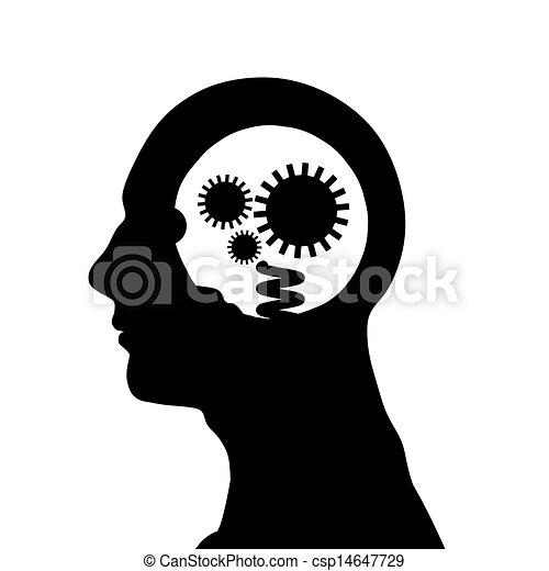 testa, maschio, silhouette - csp14647729
