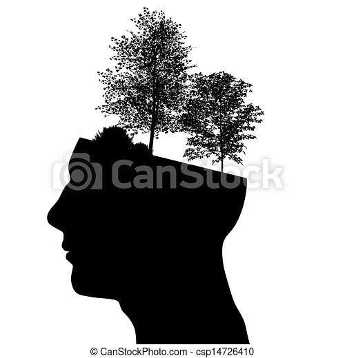 testa, maschio, silhouette - csp14726410