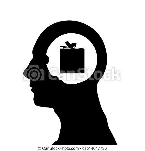 testa, maschio, silhouette - csp14647736