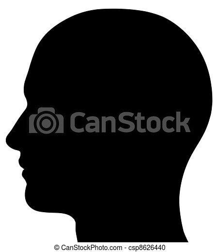 testa, maschio, silhouette - csp8626440