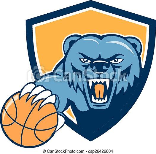 testa, pallacanestro, scudo, grizzly, arrabbiato, cartone animato - csp26426804