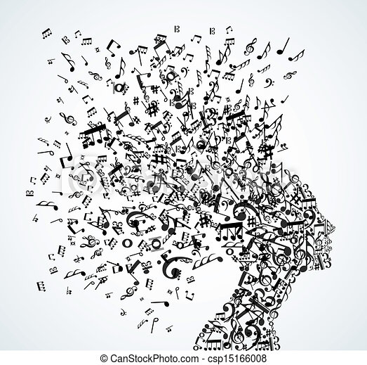 testa, schizzo, note musica, donna - csp15166008