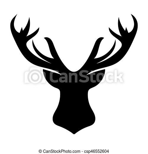 Testa Silhouette Cervo Sfondo Nero Natale Bianco Testa