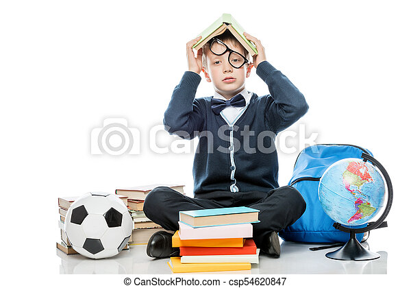 testa, suo, stanco, contro, libro, proposta, fondo, studio, bianco, scolaro - csp54620847