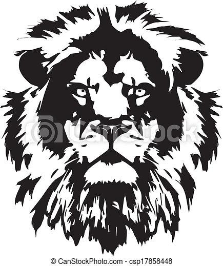 testa, tatuaggio, leone, nero - csp17858448