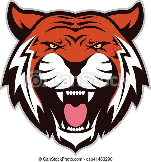 Testa tigre mascotte immagine testa clipart carattere tiger