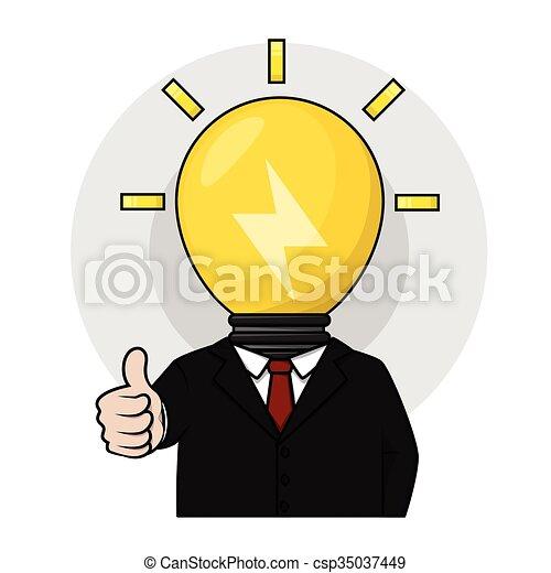 testa, uomo, lampada, idea affari - csp35037449