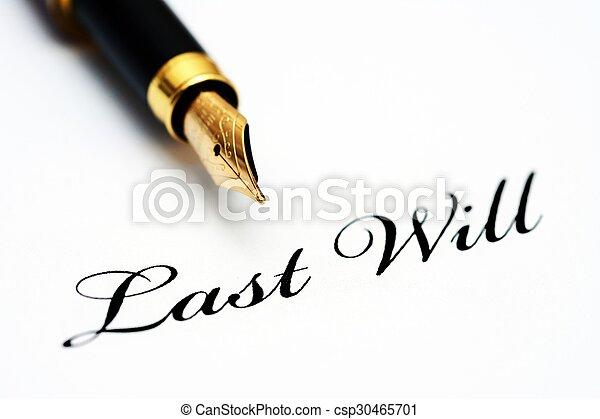 testament, pen, leest - csp30465701